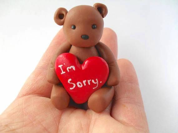 Polymer Clay Teddy Bear I M Sorry Gift Gifts For Her