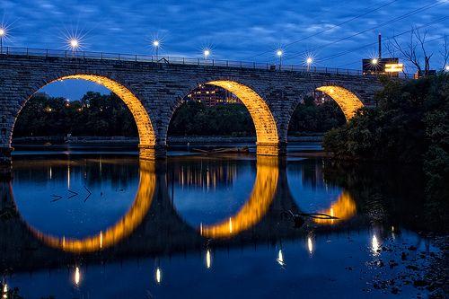 Stone Arch Bridge in NE Minneapolis. An excellent location to make human biker tunnels.