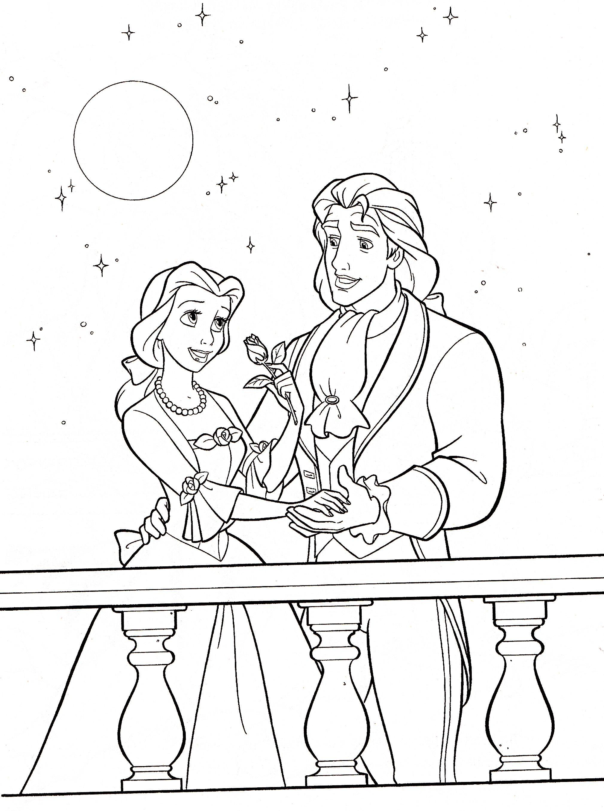 Walt Disney Coloring Pages Princess Belle Prince Adam Disney