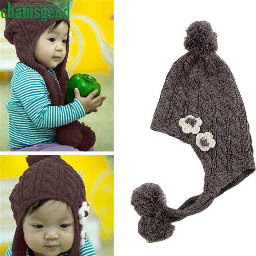 b3c6bc93633 CHAMSGEND Drop shipping snapback cap hat Unisex retro Fashion Baby Earmuffs  Knitted Warm Winter Infant Boy