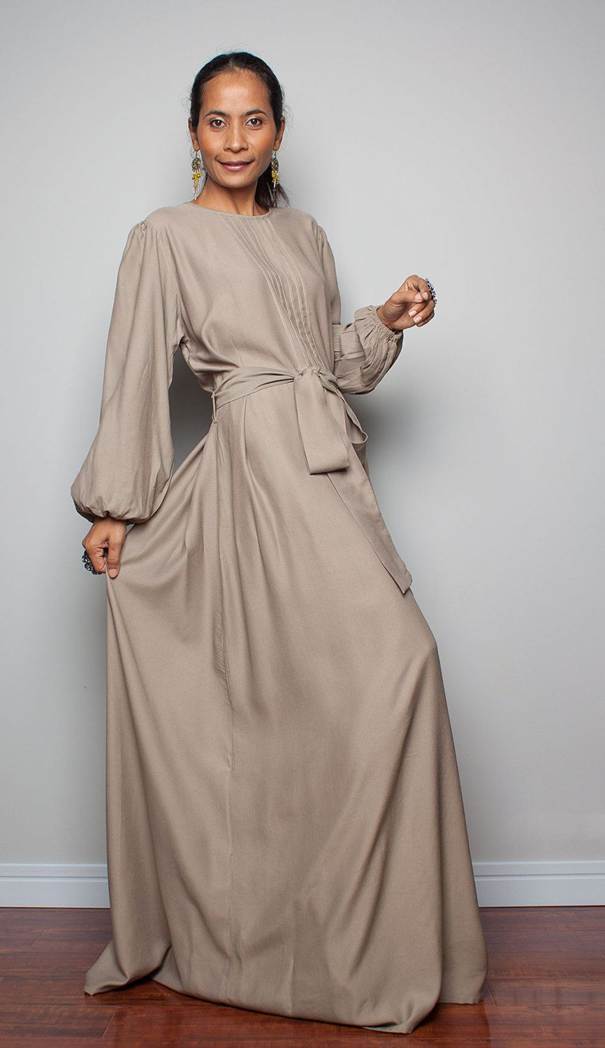 Maxi dress with long sleeves latte evening dress joy by nuichan