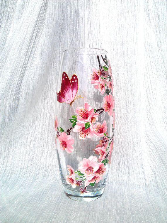 Sakura Vase Glass vase Hand painted Hand painted vase Hand painted glass Painted vase Painted
