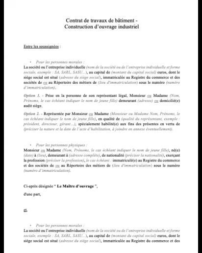 Contrat De Travaux De Batiment En 2020 Modele De Contrat Contrat De Construction Contrat