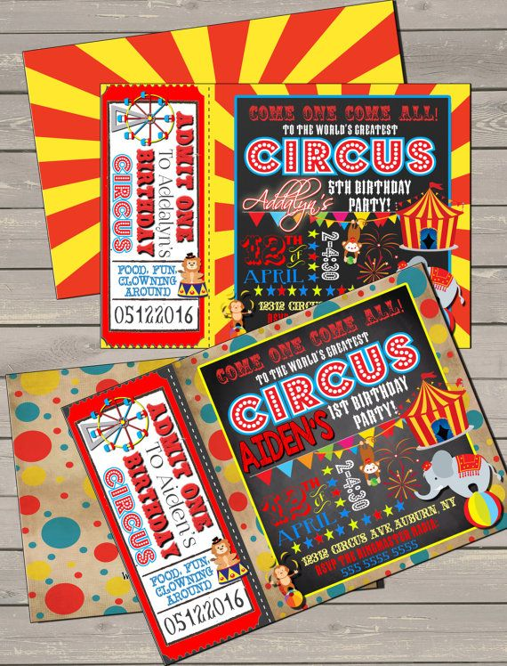Unique Birthday Circus Party invitation red by CustomPrintablesNY - Circus Party Invitation