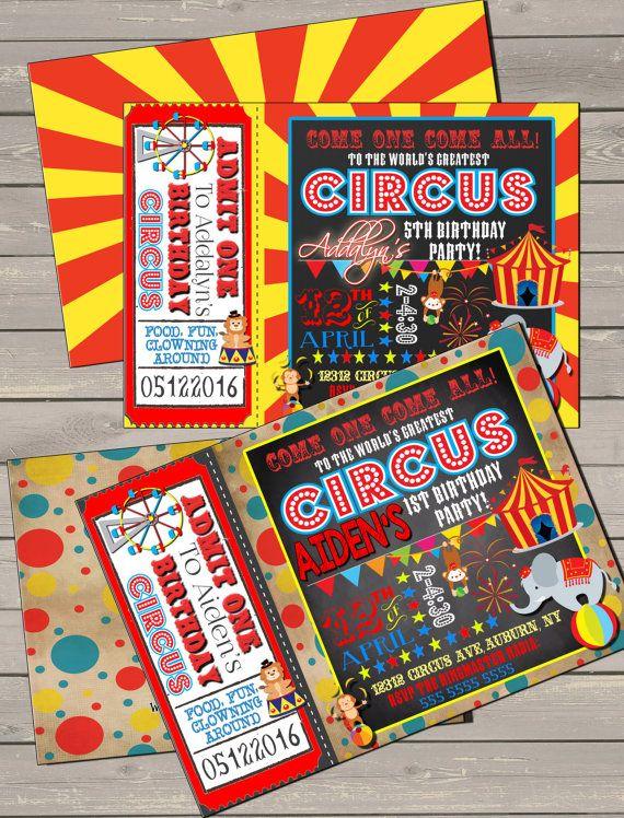 Bday Circus Invitations Red Yellow Blue Birthday Invites Birthdays