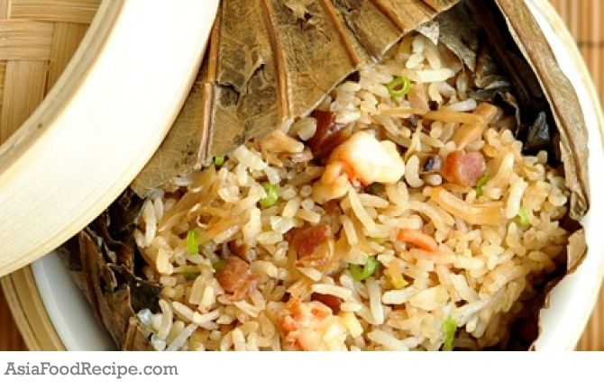 Steamed Lotus Leaf Rice with Chinese Sausage | Asia Food Recipe