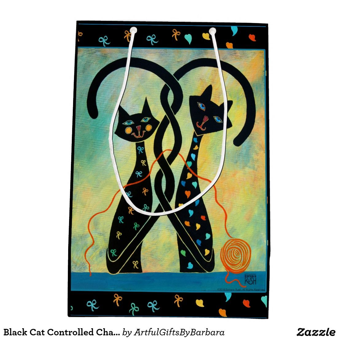 Black Cat Controlled Chaos - Custom Gift Bag Medium Gift Bag. Adorable cats with intertwined tails getting ready to take that ball of yarn and have fun with it! They are indeed Controlled Chaos! Based on Controlled Chaos original painting by Barbara Rush. For original GeoCubist art by Barbara Rush, please visit www.barbararush.com All images and designs ©2007-2016 Barbara Rush. All Rights Reserved.