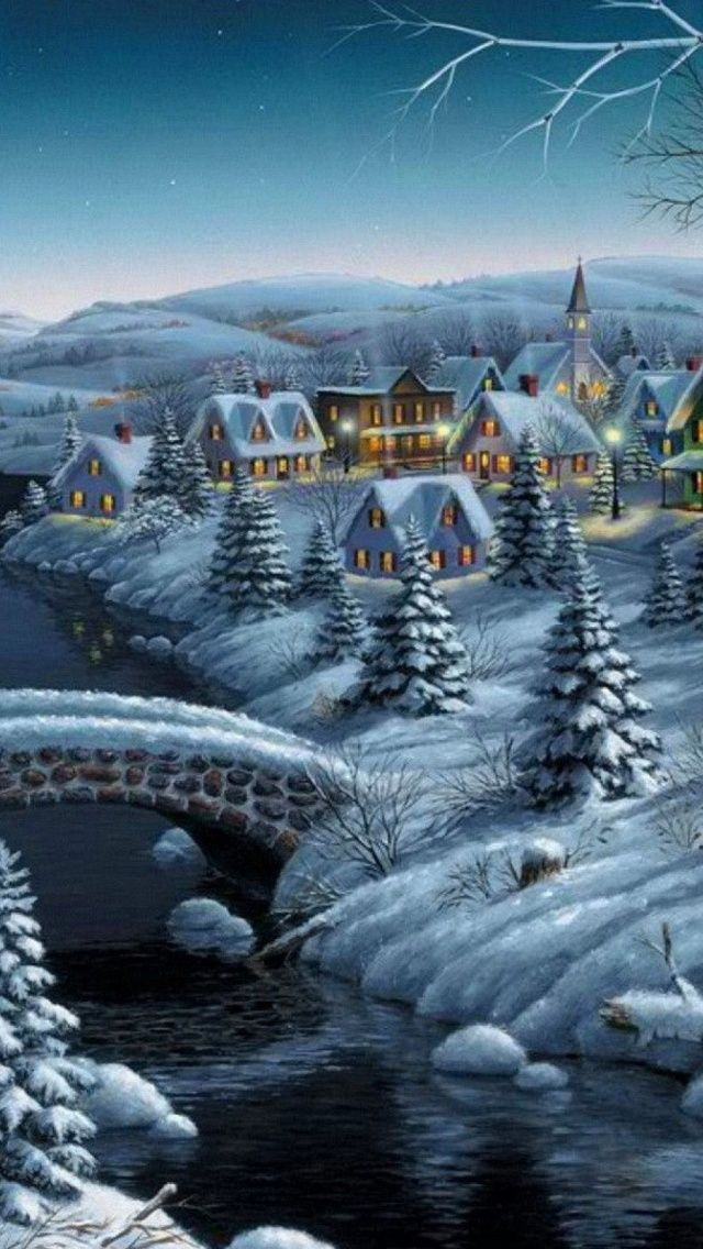 Small Village Winter Christmas Eve IPhone 5s Wallpaper