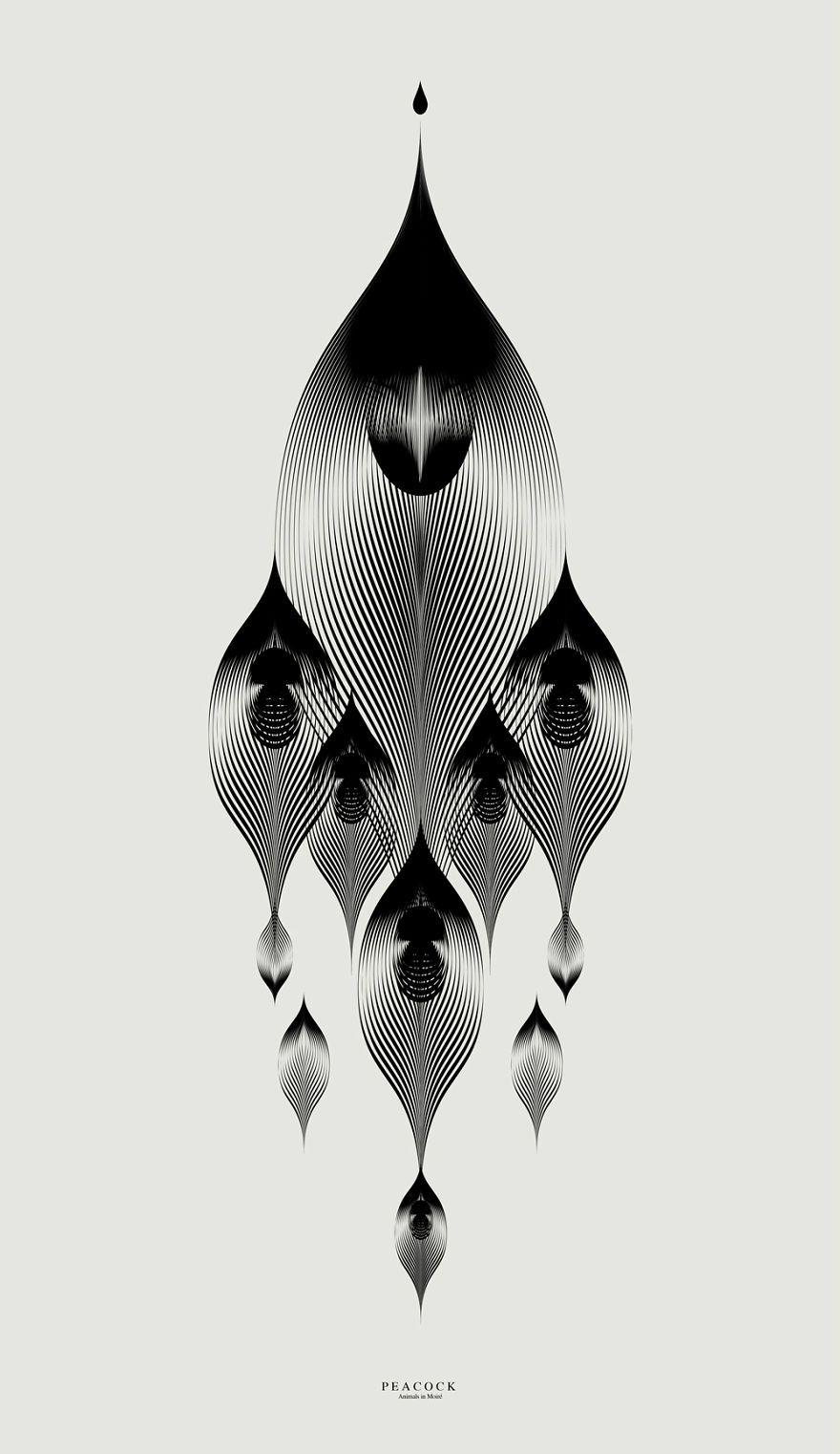 Les illustrations  base de lignes géométriques avec un moiré de Andrea Minini Dessein de dessin