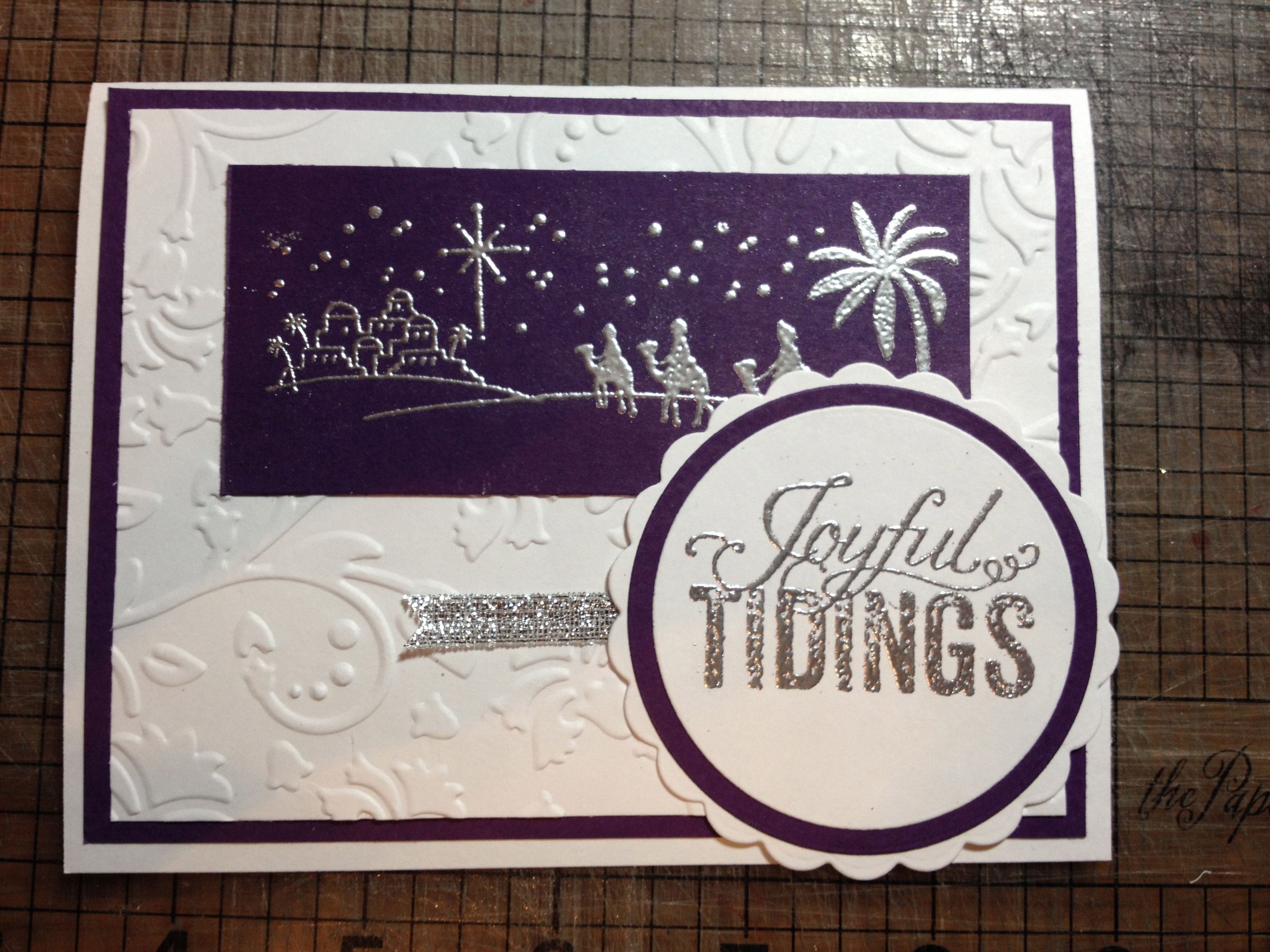 Purple Hand Stamped Religious Wise Men Christmas Card With