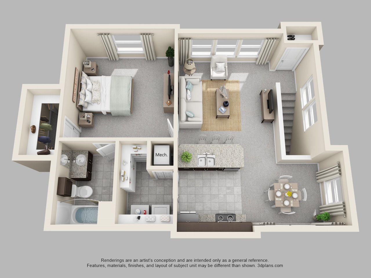 the pointe at cabot 1 bedroom 1 bath hickory loft floor plan wohnung haus sims 4. Black Bedroom Furniture Sets. Home Design Ideas