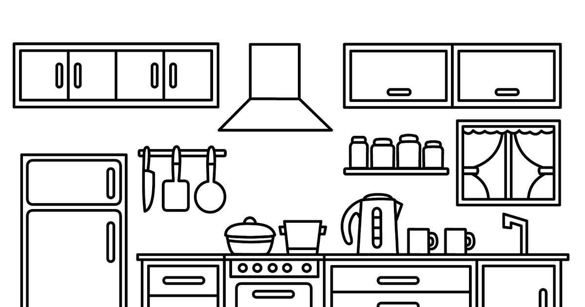 Coloring Page Kitchen Drawing Kitchen Cabinets Kitchen Kitchen Set Coloring Book For Kids Art Cute Coloring Page For Kitchen Chef Themed Activity Set Colori