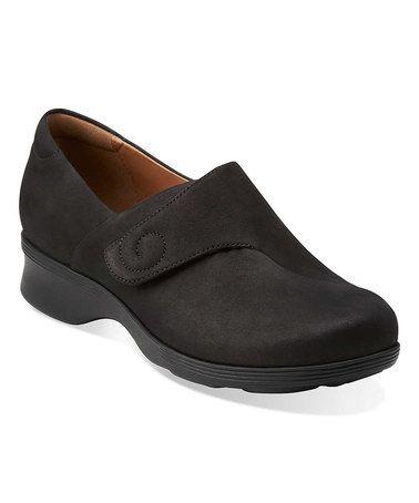 Clarks Black Aubria Myth Nubuck Leather Slip-On Shoe
