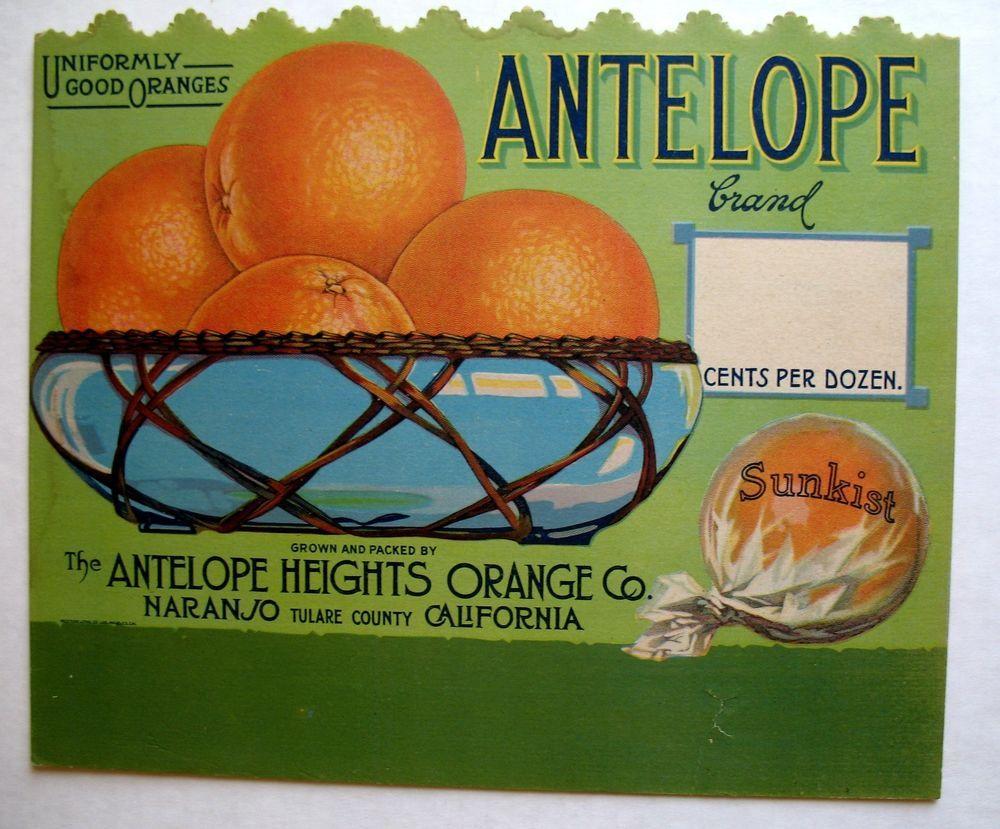 Porterville Top O/' The World Blimp Orange Citrus Fruit Crate Label Art Print