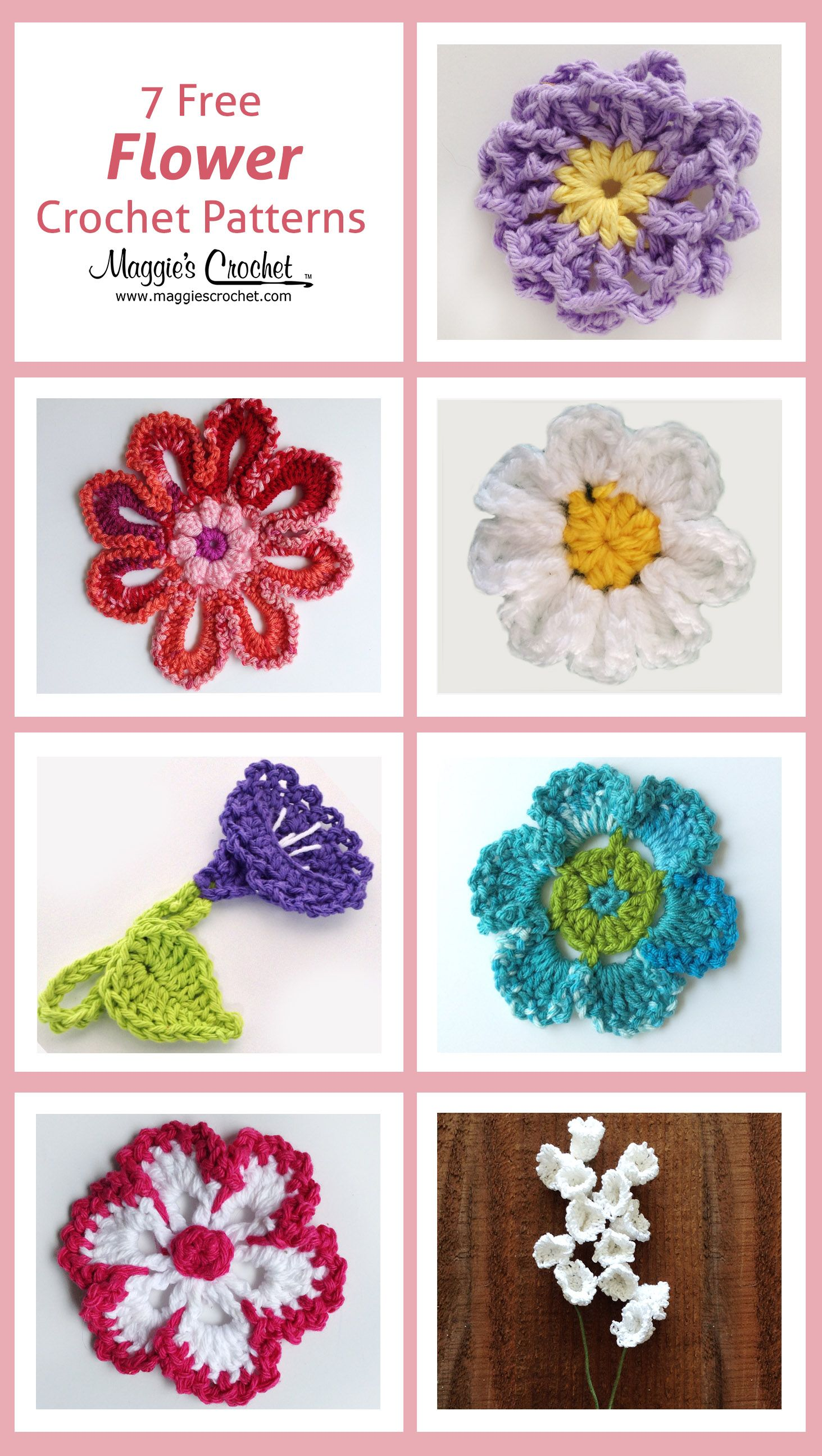 7 Free Flower Crochet Patterns from Maggie\'s Crochet | brincos ...