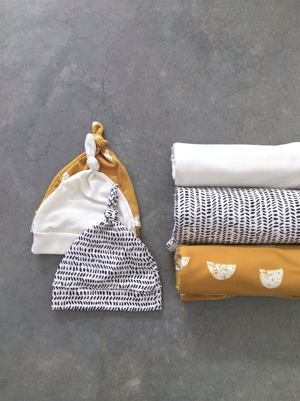 Organic swaddle blanket, gender neutral baby blanket, swaddle beanie set, organic cotton swaddle blanket, cotton jersey swaddle newborn gift
