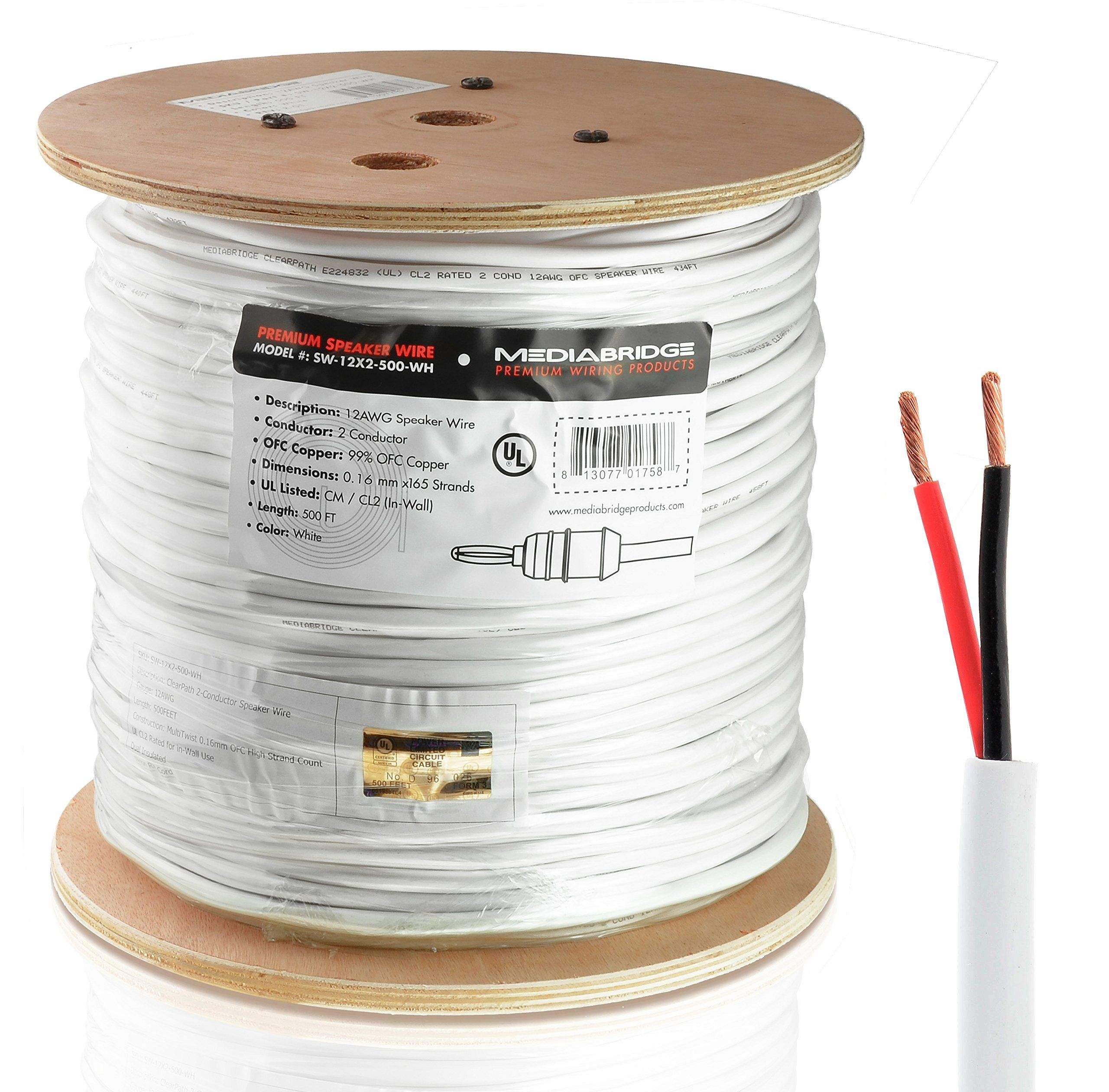 Mediabridge 12AWG 2-Conductor Speaker Wire (500 Feet, White) - 99.9 ...