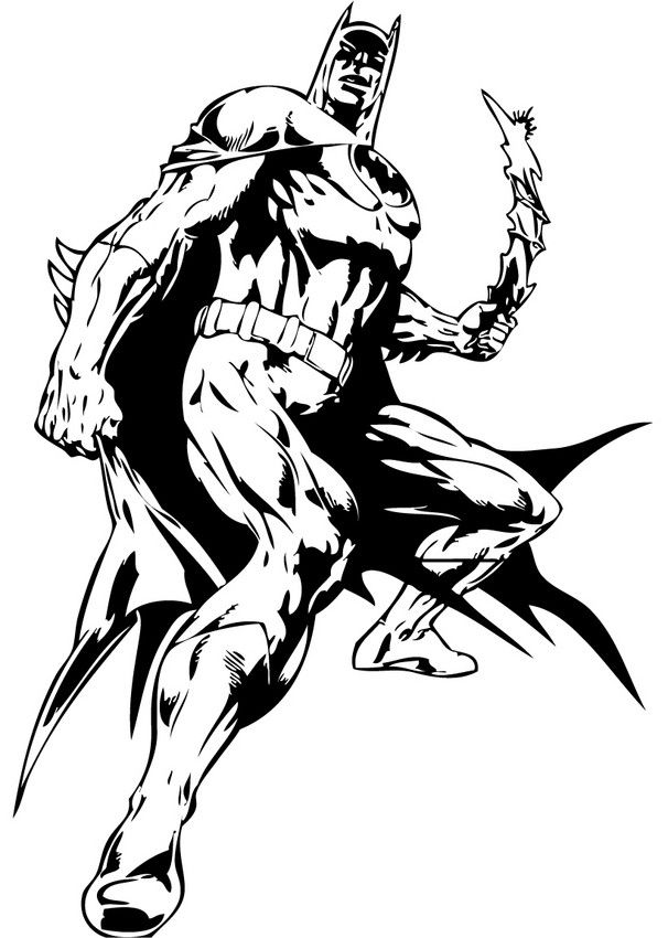 Enjoy Coloring The Batman With His Batarang Coloring Page On Hellokids Com More Content On Hel Batman Coloring Pages Superhero Coloring Cartoon Coloring Pages