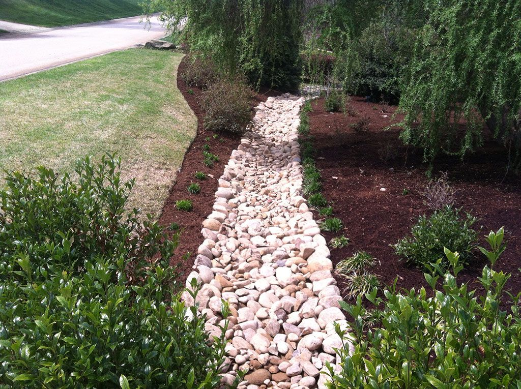 Drainage ditch landscaping decorative drainage before for Landscape drainage design