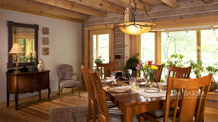 Modern, Rustic Living: Dining room in a log home by Jim Barna Log ...