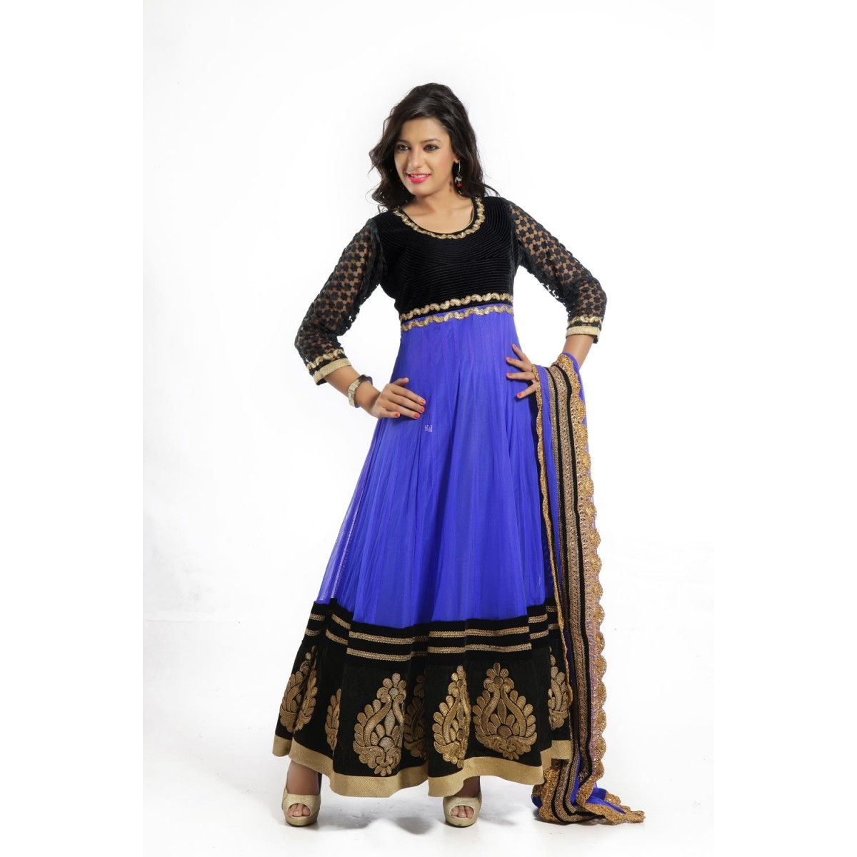 Blue and black net readymade anarkali suits with dupatta