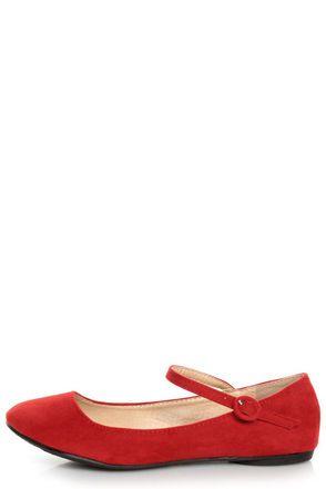 805f7b70fd1 Doby 4 Red Velvet Mary Jane Ballet Flats -  19.00