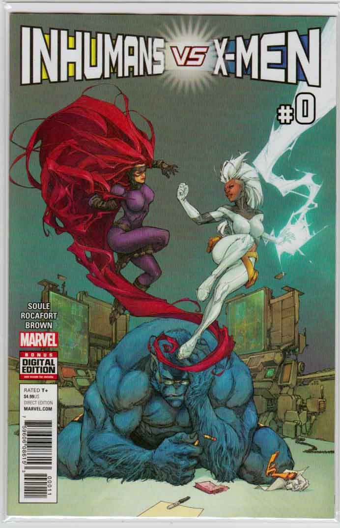 Inhumans Vs X Men 0 2016 Kenneth Rocafort Cover Charles Soule Story Kenneth Rocafort Pencils Marvel Inhumans Comic Books Art Comics