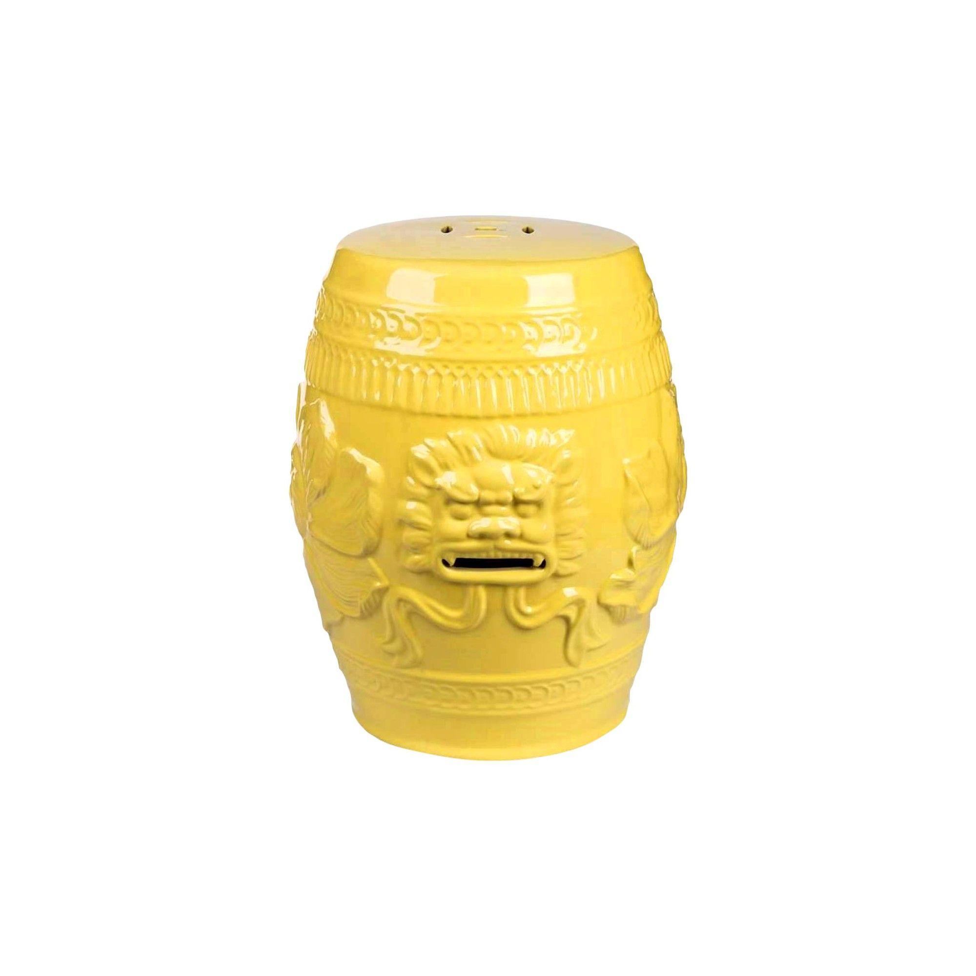 Chinese Lion Yellow Ceramic Garden Stool Abbyson Living