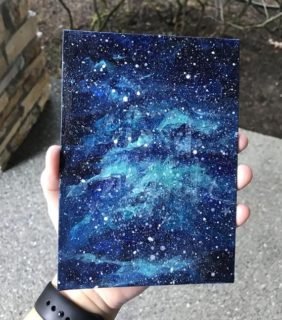 Glow in the Dark Galaxy Painting, Hidden Message Glows in Dark, Acrylic Painting, Nebula Art, Origin