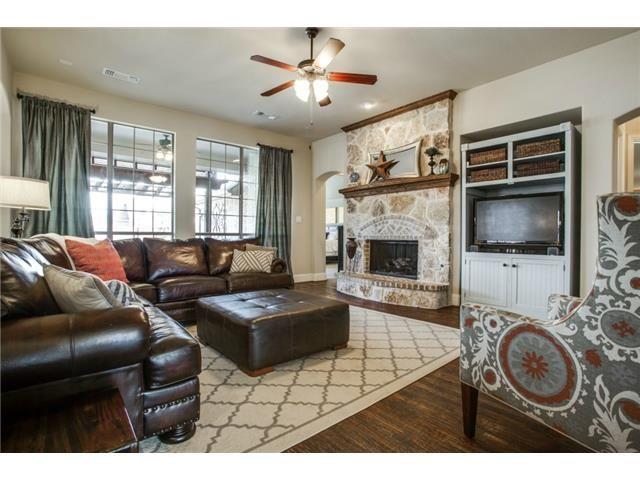 Charming living room   Hardwood floors, stone fireplace, large