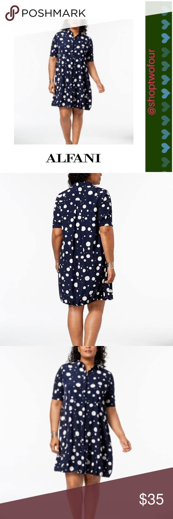 610a4300af2 Alfani Plus Size Bungee-Hem Navy Shirtdress NWT Printed with a bold dot  pattern