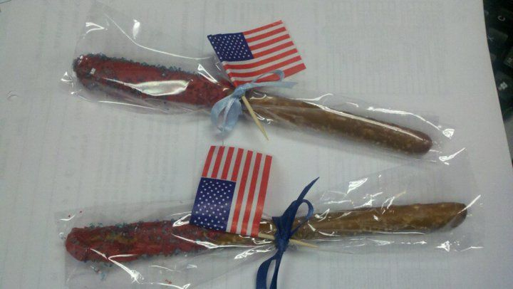 Chocolate covered pretzels for July 4th.
