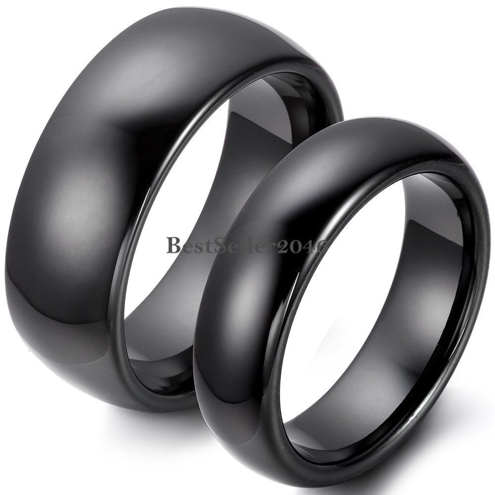 Partnerringe schwarz  Damen Herren Keramik Dome Ring Schwarz Trauringe Partnerringe ...