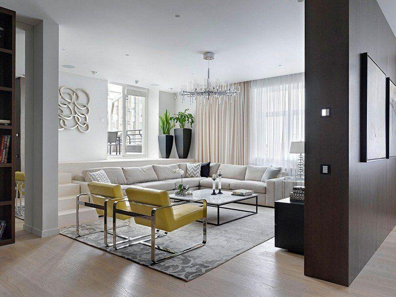 Wohnzimmer Design - retro Wohnidee mit gelben Stühlen Vorhänge - wohnzimmer beige braun grau
