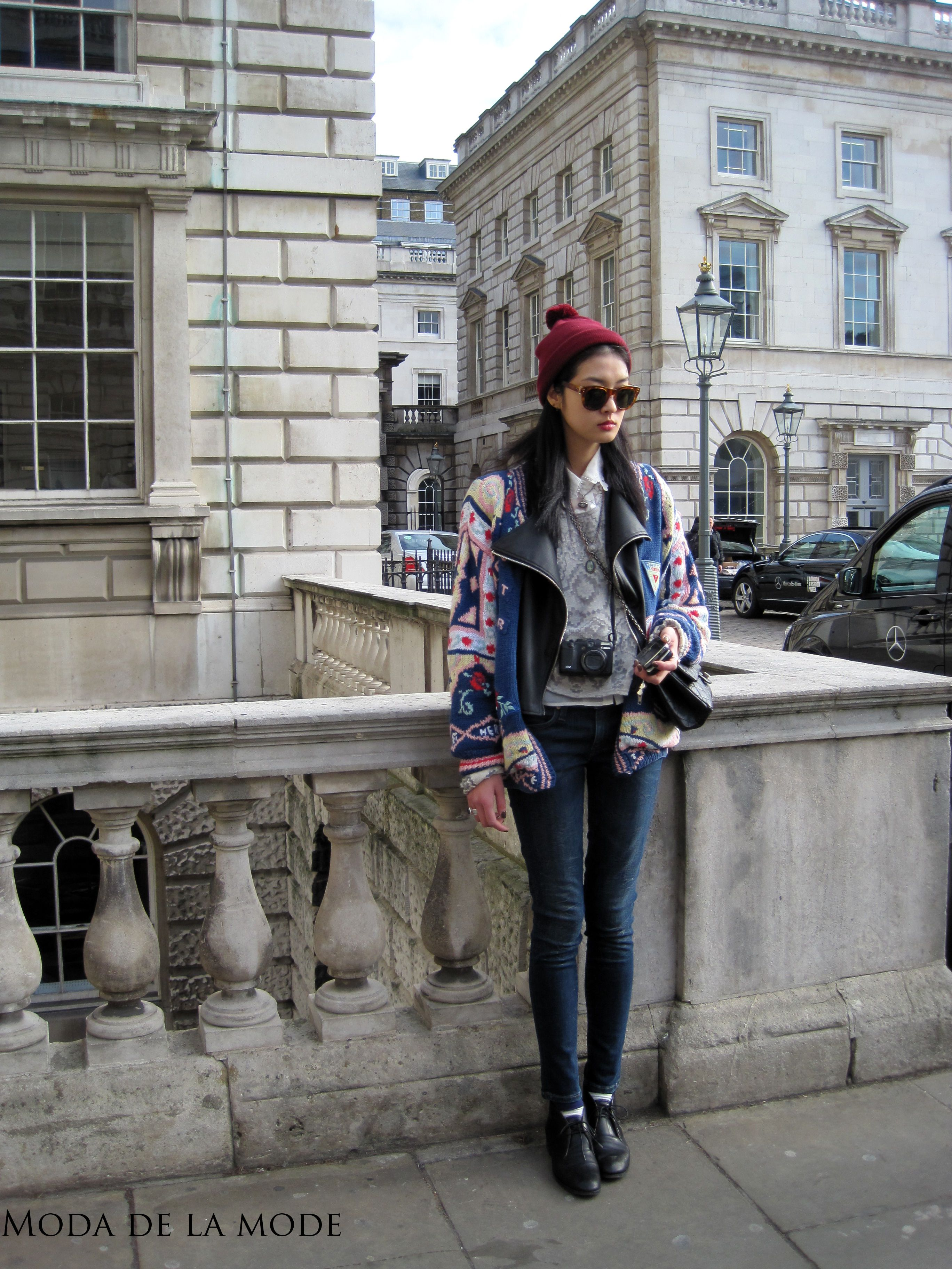 London Fashion Week Street Style: A Mix of Leather and Wool (and amazing skinny jeans)