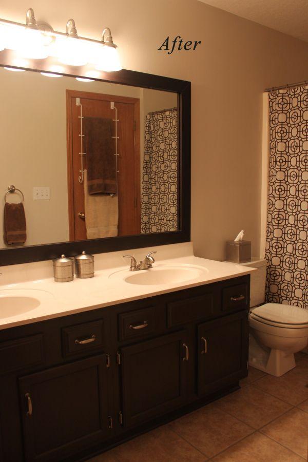Bathroom Vanity Updated From Honey Oak Painting Bathroom Cabinets Bathroom Cabinet Colors Oak Bathroom Cabinets