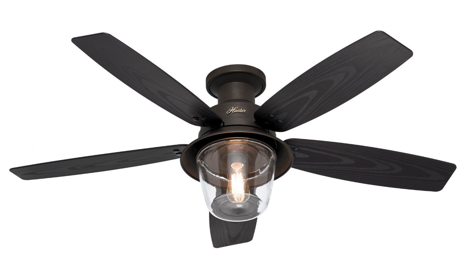 Hunter 52 Rustic New Bronze Hugger 3 Speed Damp Rated Ceiling Fan
