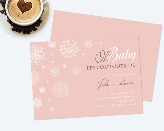 DIY Editable Oh Baby Invite, MS Word Template, Winter Baby Shower - invitations word template