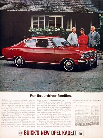 1966 Buick Opel Kadett Sport Coupe Original Vintage Adver Imported From Germany By Msrp For This Model Started At 1 803