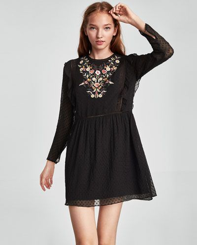 b06f763e Image 2 of DOTTED MESH DRESS WITH FLORAL EMBROIDERY from Zara | Zara ...