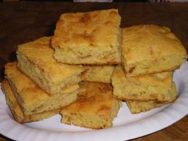 Crackling Cornbread. I used real cracklings from M&T's. Easy to make and delicious