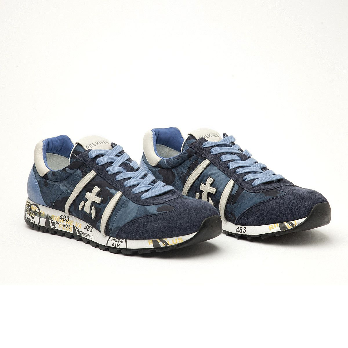 #premiata #men #lucy #sneakers #trainers #blue #camouflage #new