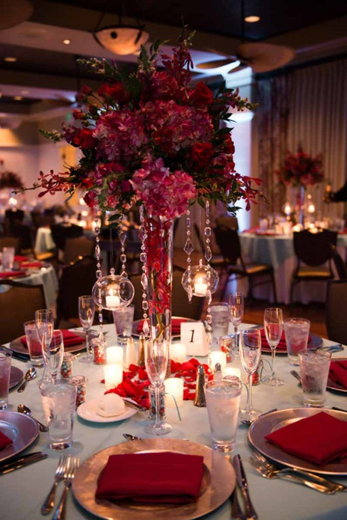 Tiffany Blue And Burgundy Bohemian Celebration Wedding Floral