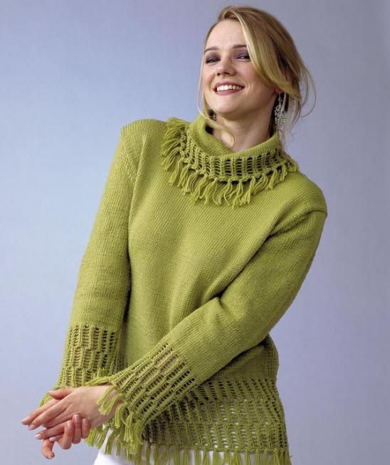 283c8c482cb3b Free Knitting Pattern for Pullover Sweater with tassels and more pullover  knitting patterns