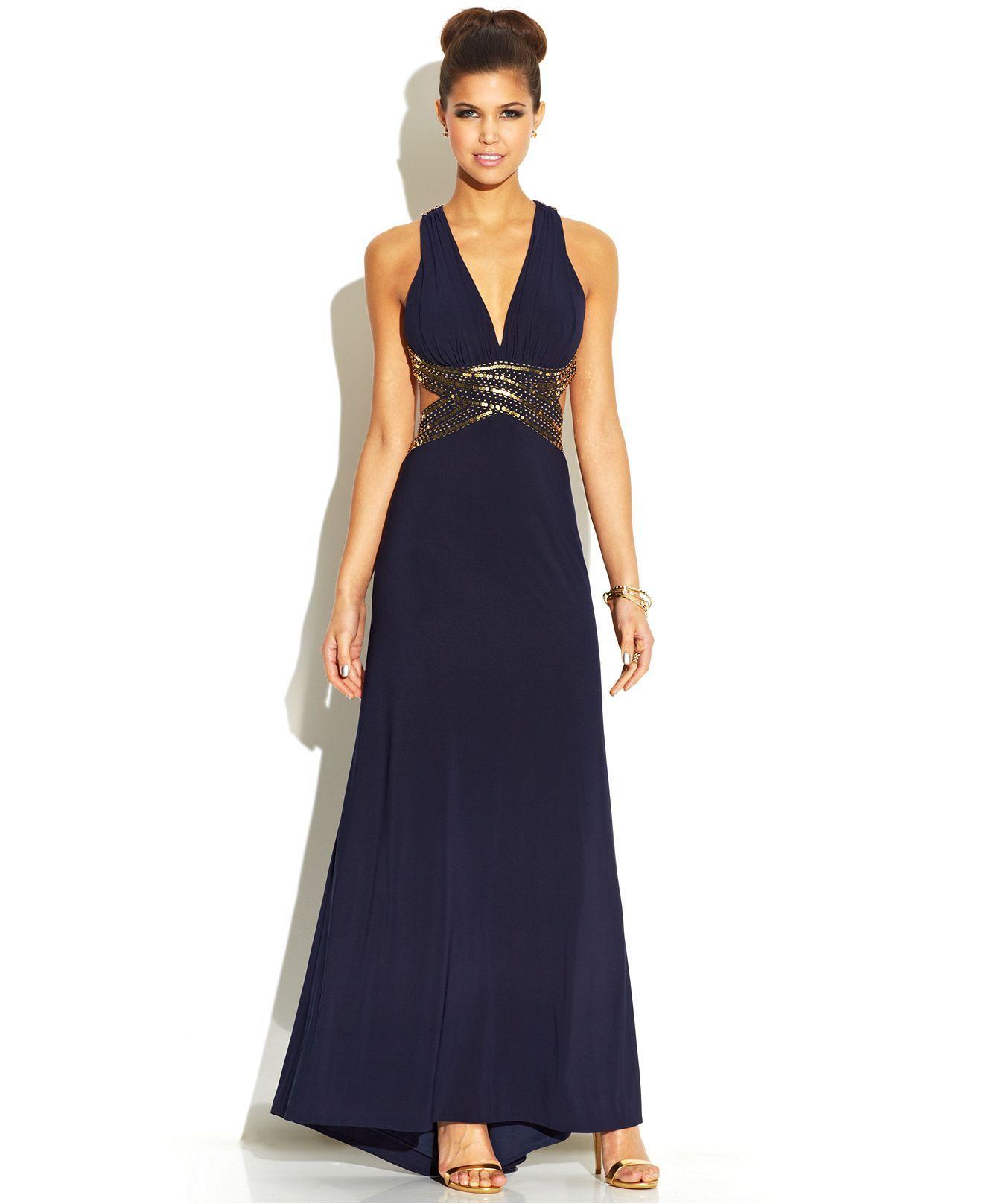 Blondie Nites Juniors\' Sequined Open-Back Dress - Juniors Prom ...