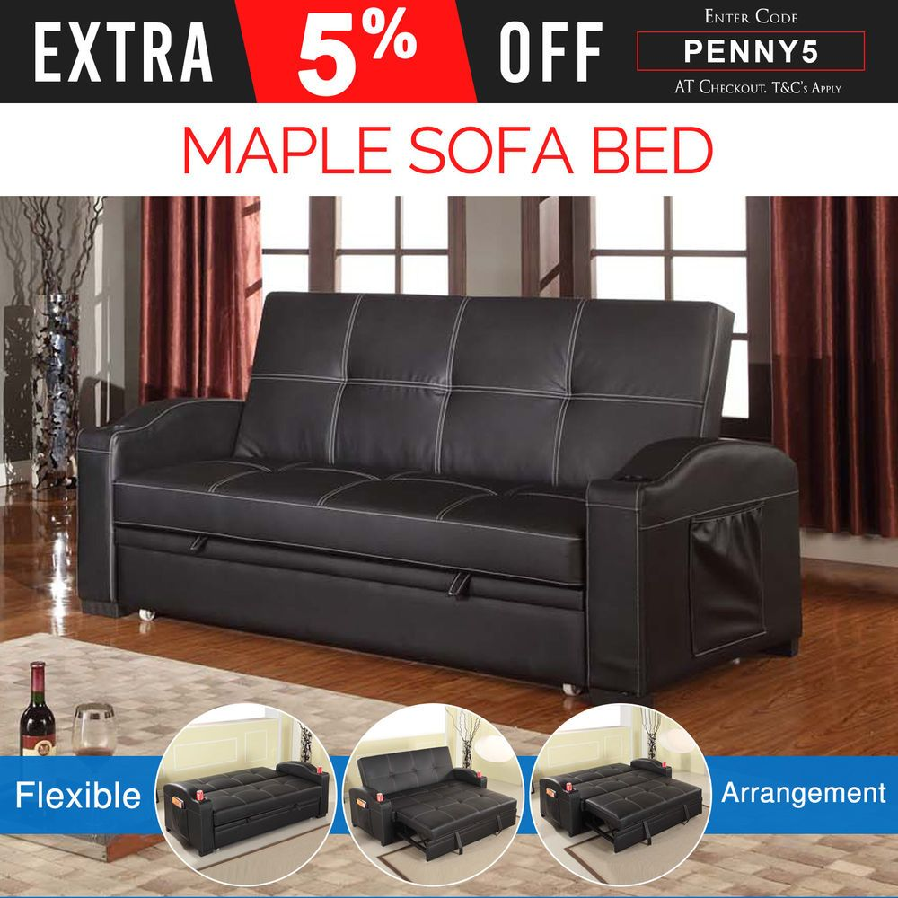 3 Seater Black Sofa Bed Cup Holders