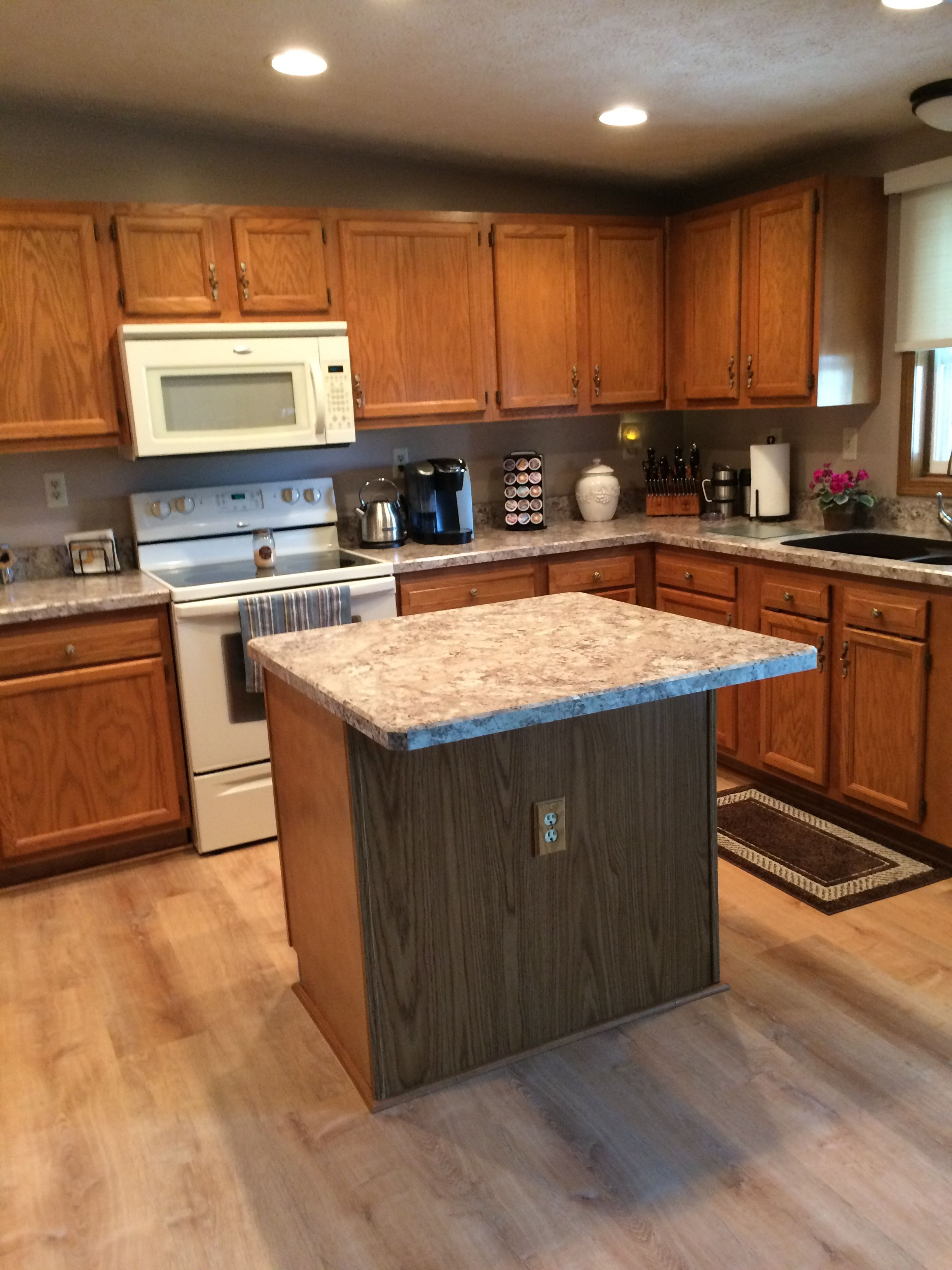 Old Style Kitchen With A Facelift Wilsonart Laminate Autumn Carnival Counters With Under Mount Sink And Al Luxury Vinyl Plank Kitchen Styling Kitchen Design