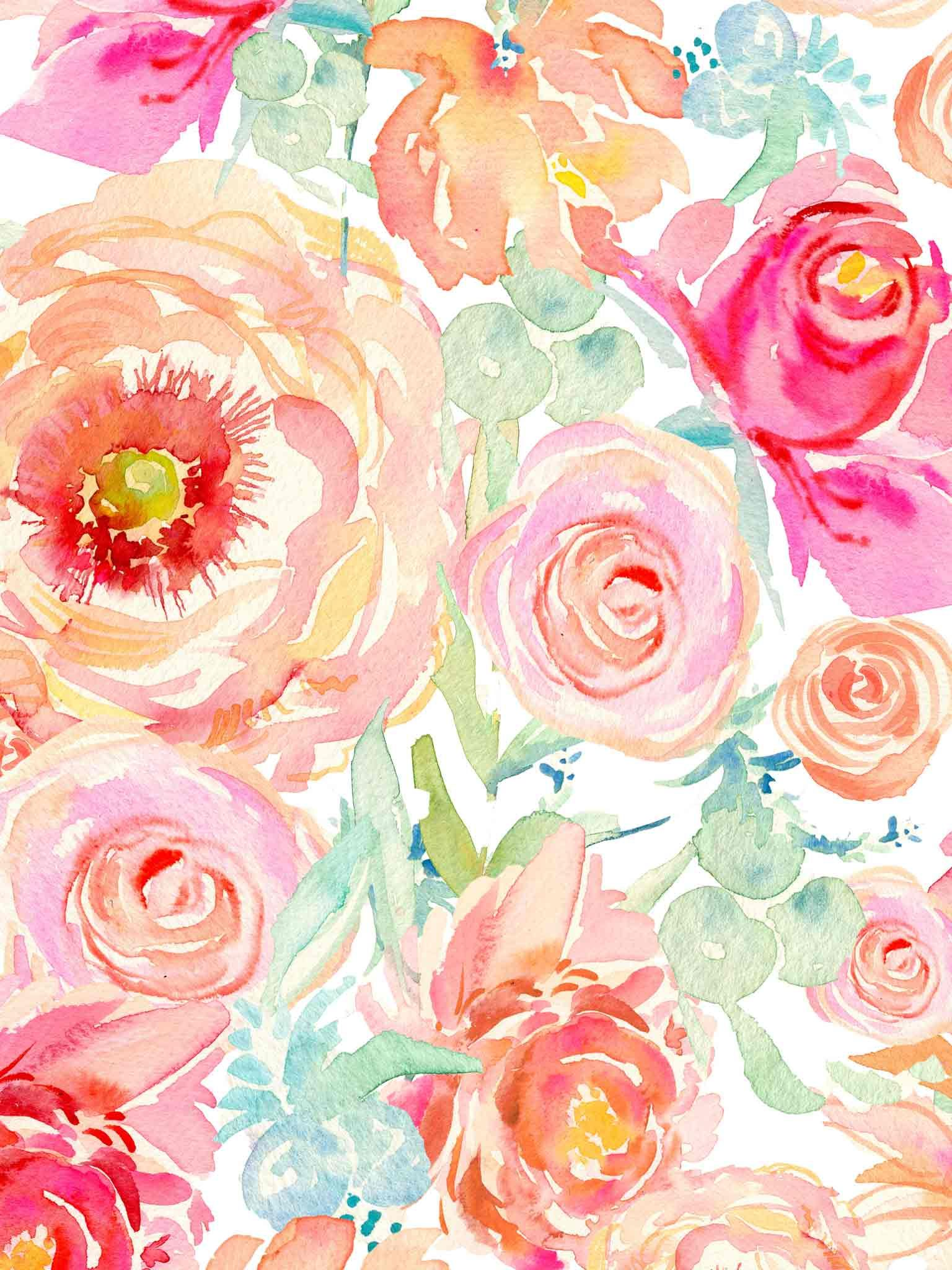 floral watercolor wallpaper Google Search Ipad
