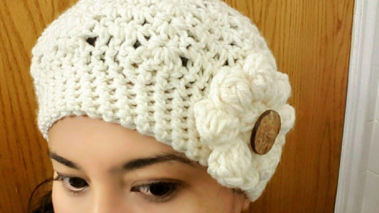 🌸Gorro con Flor en Crochet(ganchillo)Para Niña y Mujer | Tejidos ...