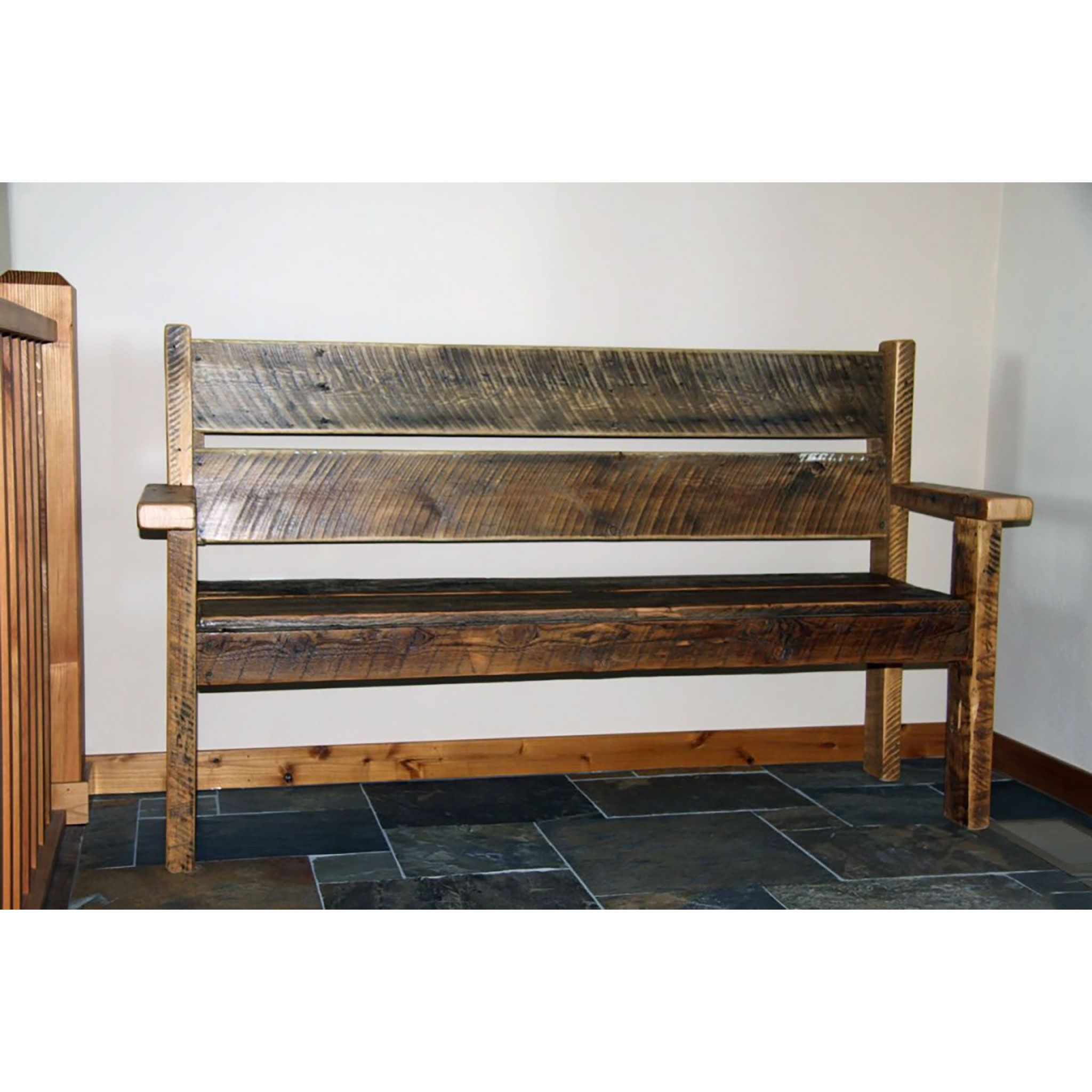 Reclaimed Entryway Bench With Back Four Corner Furniture Bozeman Mt Bench With Back Rustic Storage Bench Corner Furniture